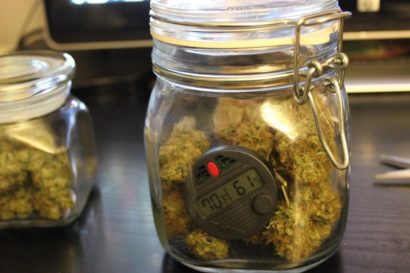 Гигрометр в банке с марихуаной