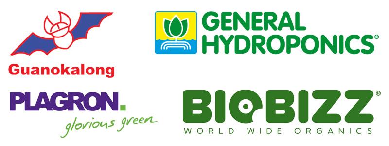 Бренды Guanokalong, General Hydroponics, Plagron, Biobizz
