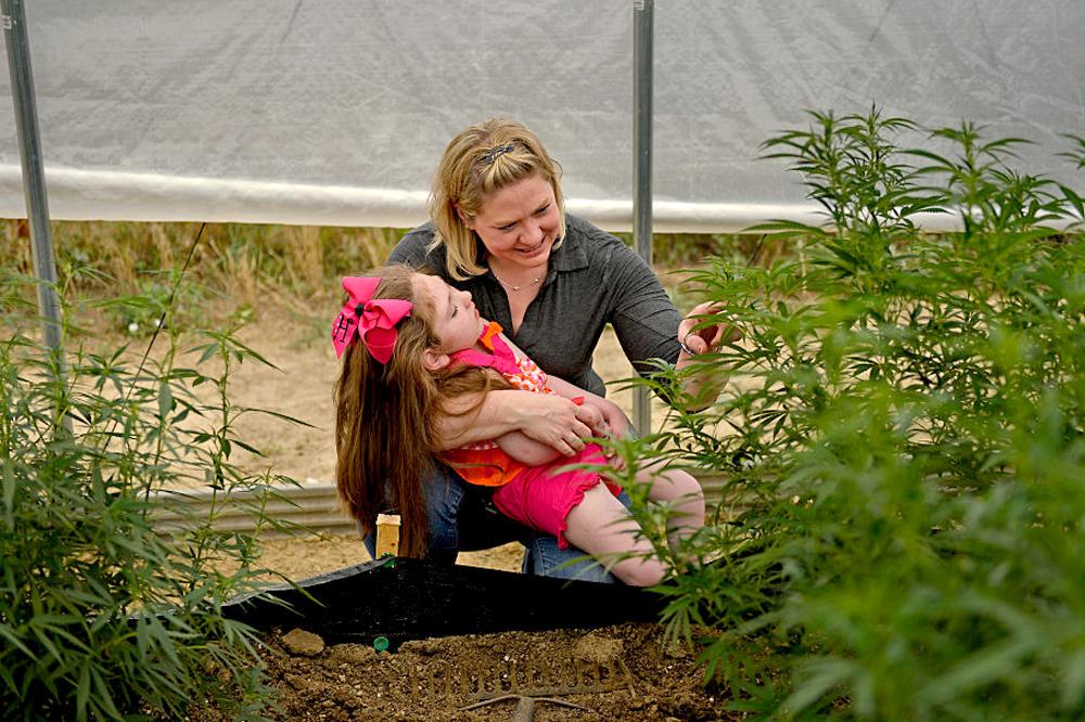Женщина с ребенком в зарослях конопли